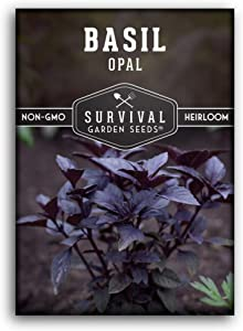 Survival Garden Seeds - Opal Basil Seed for Planting - Packet with Instructions to Plant and Grow in Your Home Vegetable Garden - Non-GMO Heirloom Variety