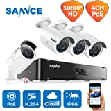 SANNCE 4CH 1080P sPoE NVR HD CCTV Camera System and 4pcs 2.0MP HD 1080P Outdoor Bullet Camera, IP66 Weatherproof, Day/Night Vision, Email Alert, Power Over Ethernet, Free APP, Easy DIY, Remote View