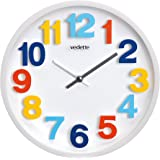 Vedette - VP40040 - Pendule à Trotteuse Silencieuse - Chiffres Multicolores en Relief - 30.5 cm