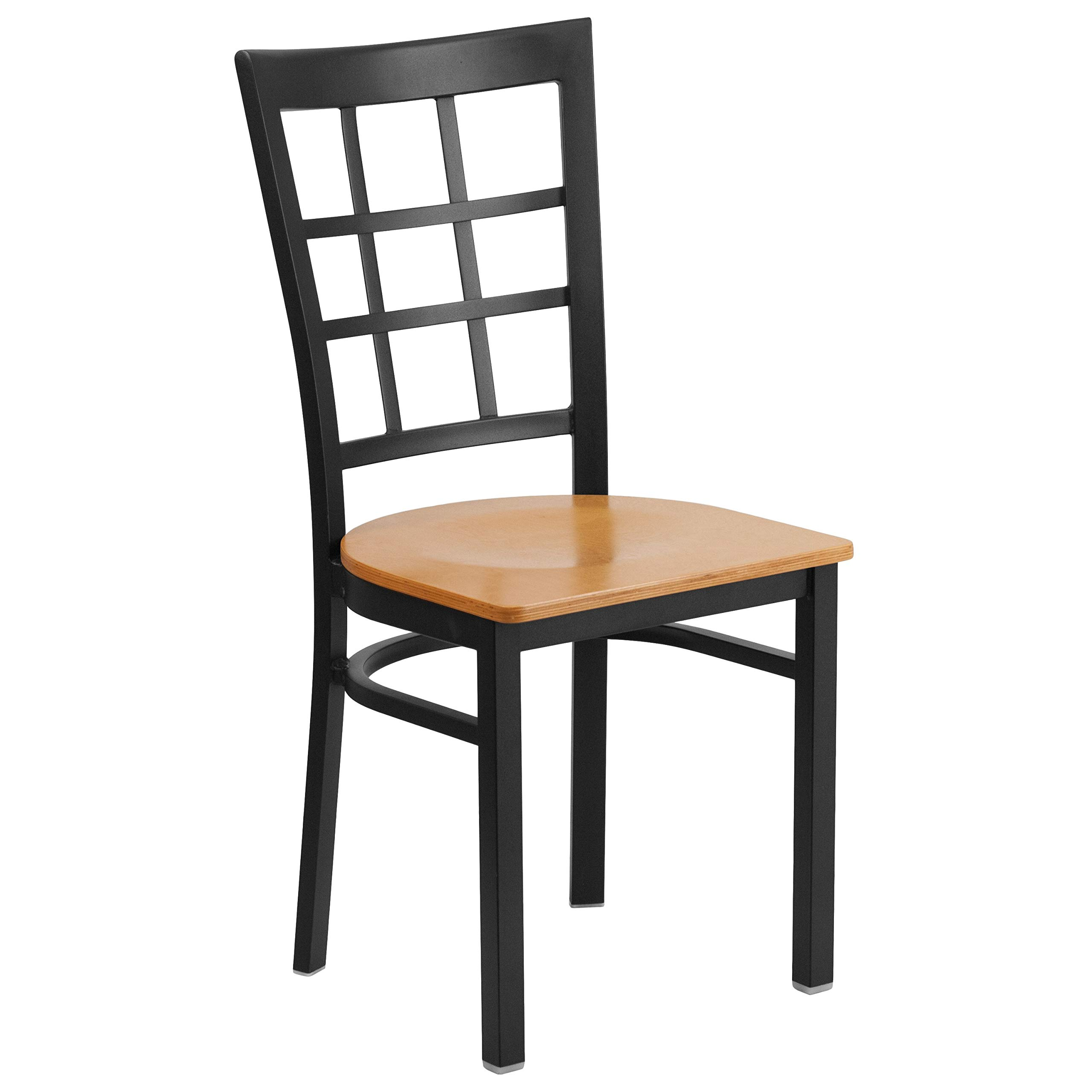 MFO Princeton Collection Black Window Back Metal Restaurant Chair - Natural Wood Seat