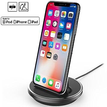 ebfb9656470 iPhone / iPad / iPod Base de Carga Cargador Soporte Estación Stand Dock  Lightning 8pin, NXET® [Certificado ...