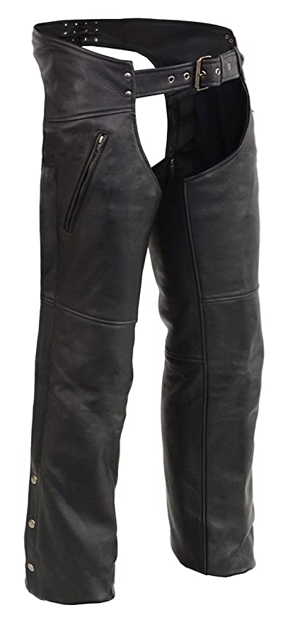 Mens Chaps w// Cool Tec Leather /& Zippered Thigh Pockets Black, Large
