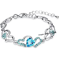Oviya Silver Alloy Rhodium Plated Crystal Strand Bracelet for Women