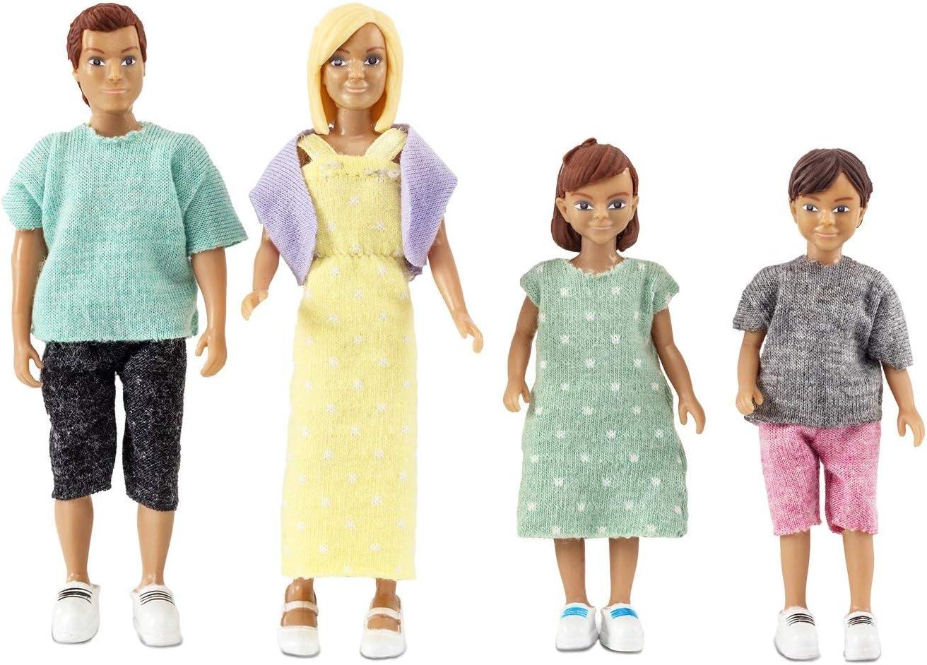 4 muñecas familia casa de muñecas Lundby padre madre 2 niños