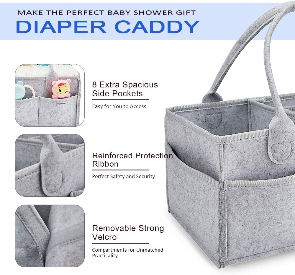 Portable Nursery Storage Bin Great for Storing Diapers Grey Baby Shower Gift Basket for Changing Table and Car Bottles Babys Toys Clearworld Baby Diaper Caddy Organizer