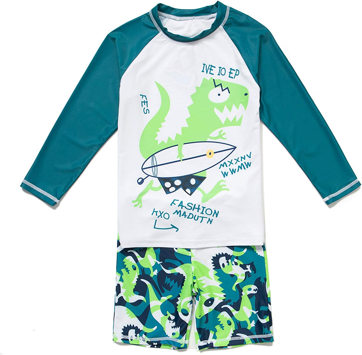 BONVERANO Toddler Boys Rashguards UPF 50 Sun Protection Two Pieces Swimsuit with Sun Cap