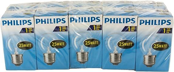 Philips 30600005 E, la bombilla forma de pera, vidrio, claro, E14 ...