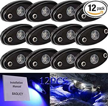 FXC 12X Blue CREE 9W LED Rock Light Bar for JEEP Off-Road Truck Boat Under Wheel