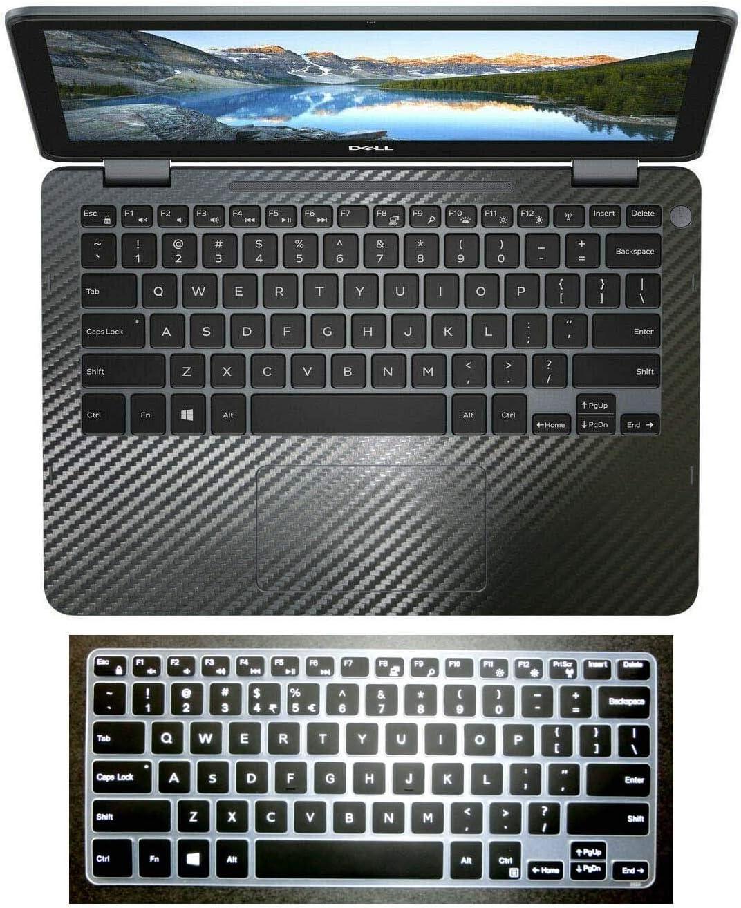BingoBuy Palmrest Decal Sticker + US Layout Black Keyboard Protector Cover Skin for 11.6'' Dell Inspiron 11-3000 Series(11-3195, Black Carbon Fiber palmrest Cover)