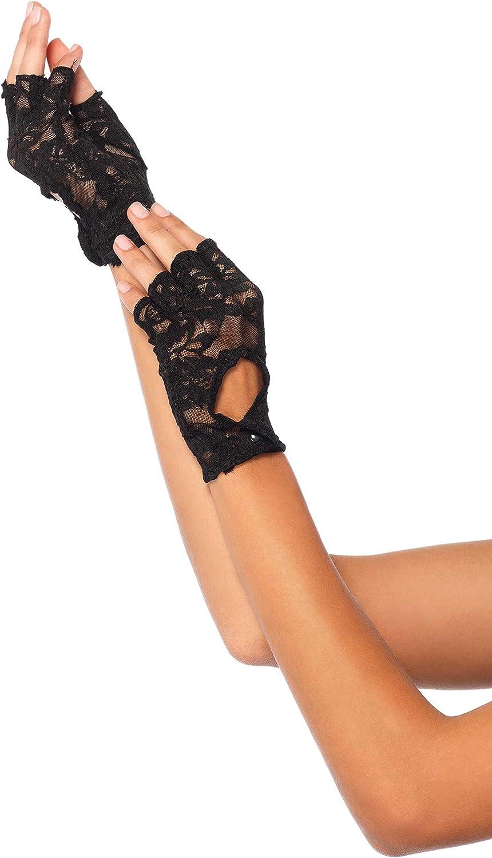 Leg Avenue Women's Keyhole Lace Fingerless Gloves, Black, One Size: Clothing