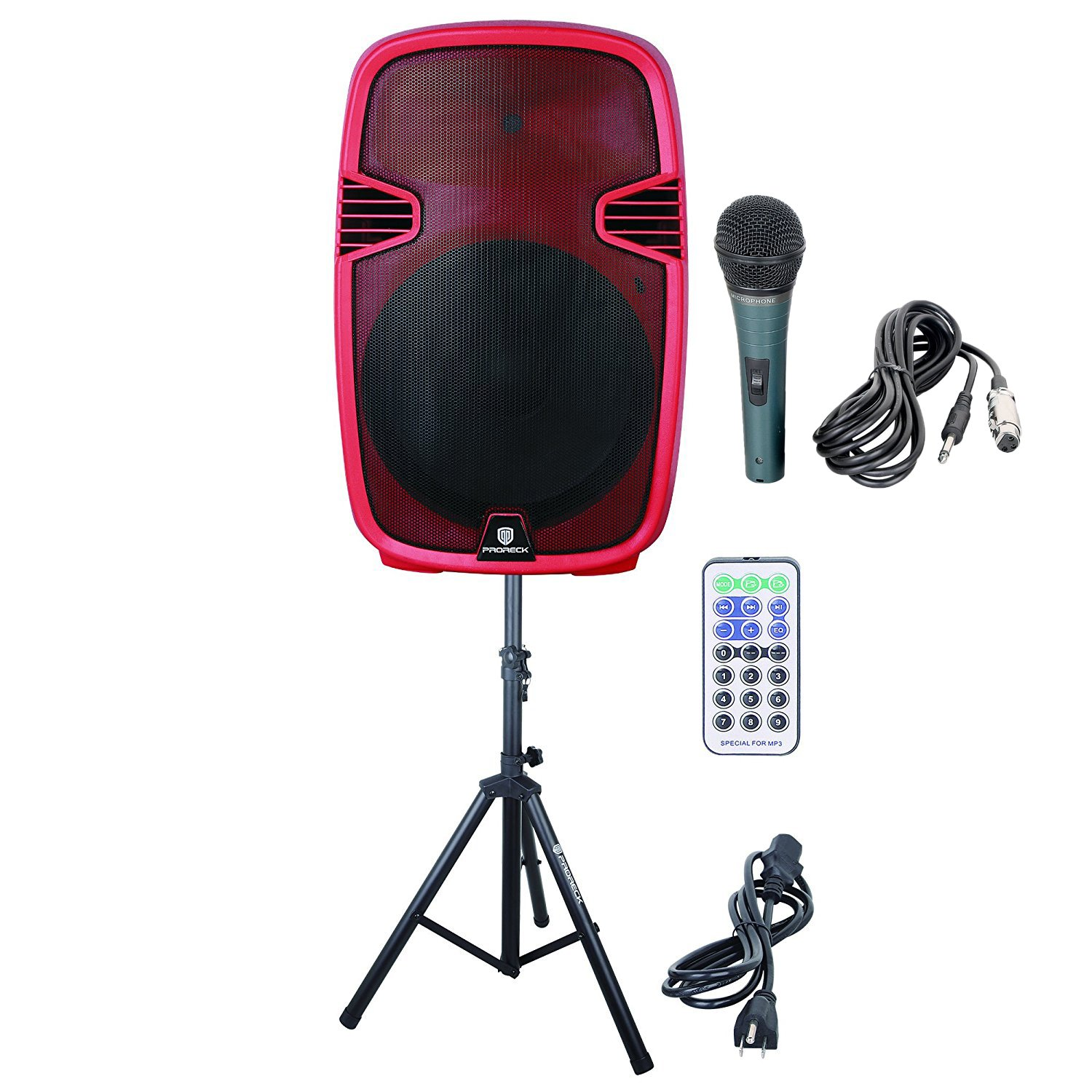 PRORECK PR-C15 Portable 15-inch 600 Watt 2-way Powered Dj/PA Speaker with Bluetooth/USB/SD Card Reader/ FM Radio/Remote Control/LED Light/Speaker Stand,Wired Microphone, Red