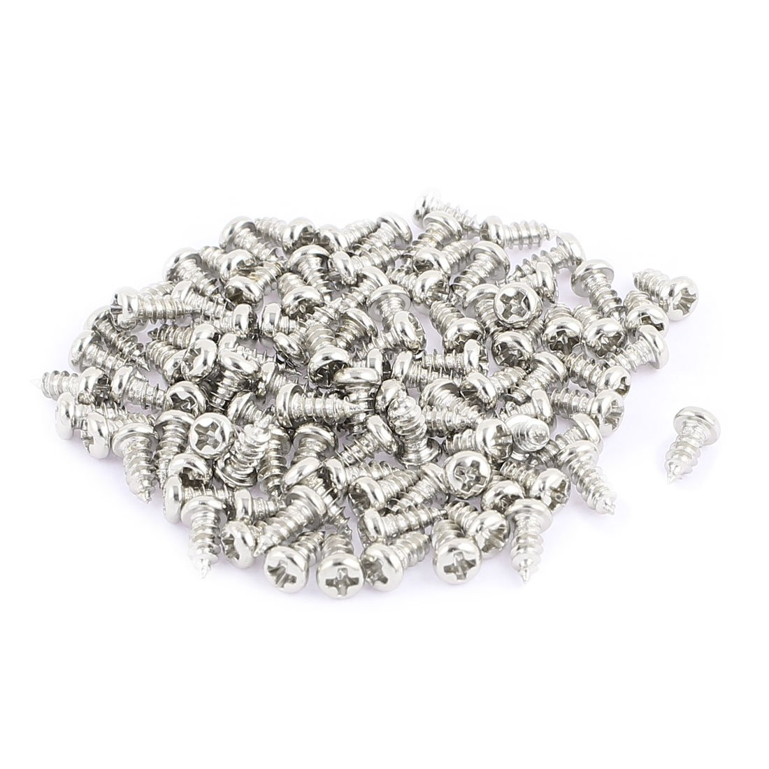 uxcell 100pcs M2.5 x 6mm Stainless Steel Phillips Pan Round Head Self Tapping Screws a16060200ux0367