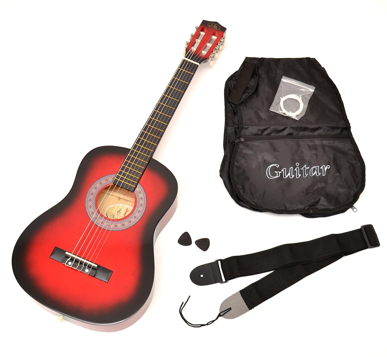 ts-ideen 5209 - Guitarra acústica infantil (tamaño 1/2, para 6-9 años aprox, incluye funda, correa y cuerdas de repuesto), color rojo