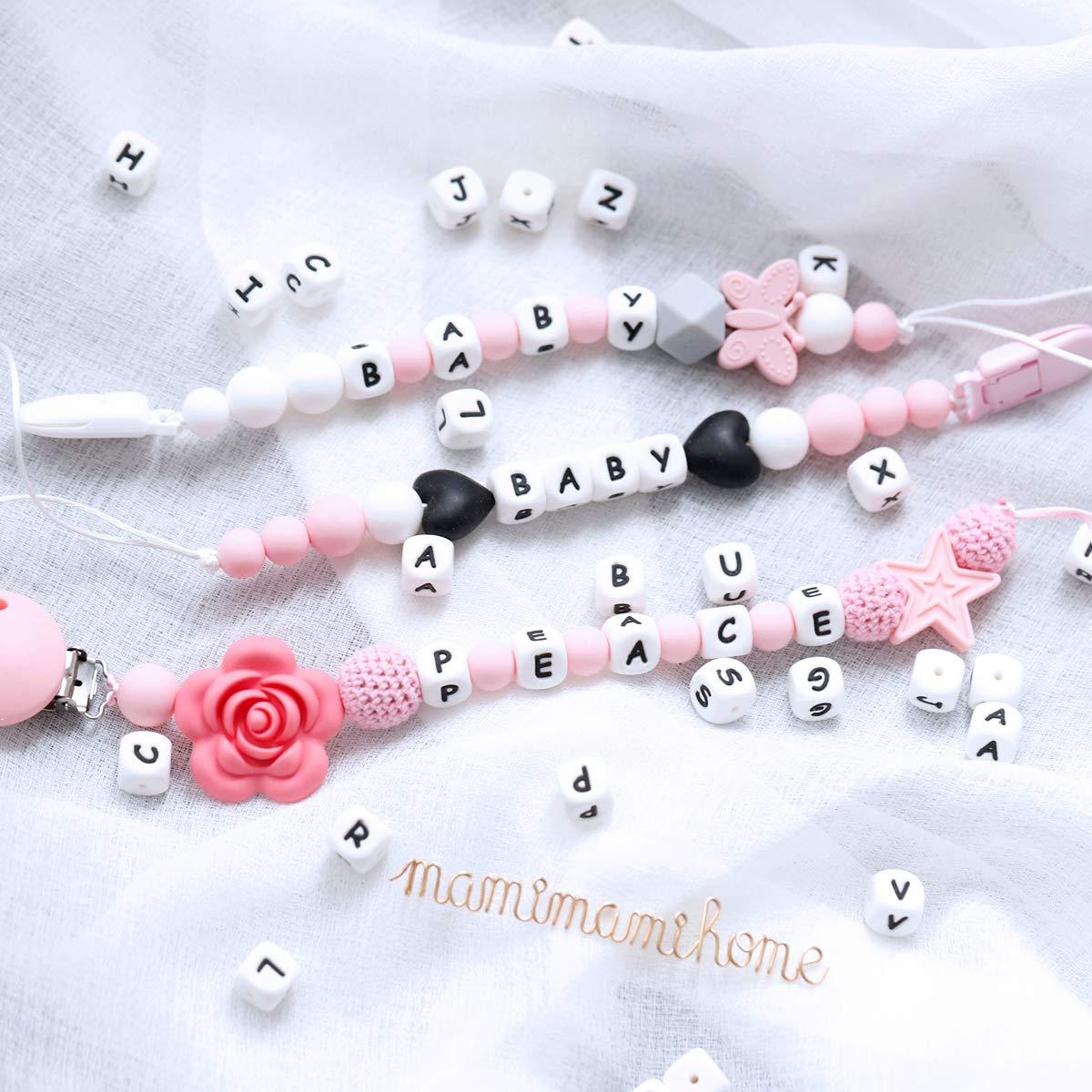 Mamimami Home 26pc Silikon Perlen Baby Teether DIY Halskette Armband Klasse BPA Frei Silikon Kauen Perlen Zahnen Brief Perlen