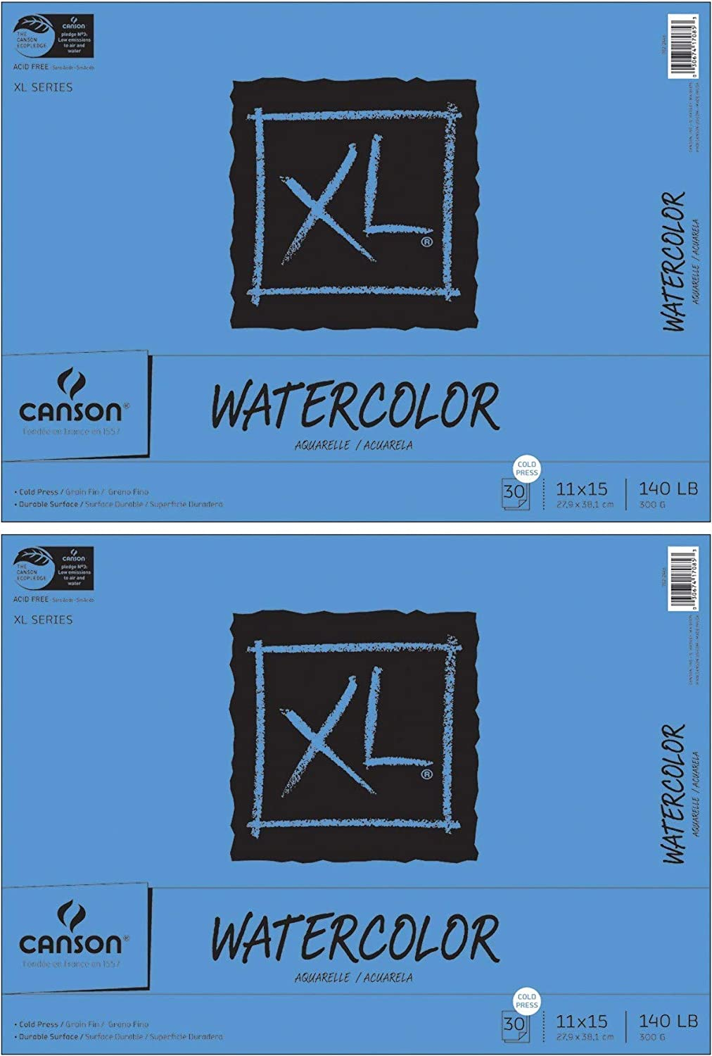 Canson XL Series Cold Press Watercolor Textured Paper Pad 11 x 15 inch Fold Over 30 Sheets Each 140 Pound 2-Pack Bundle