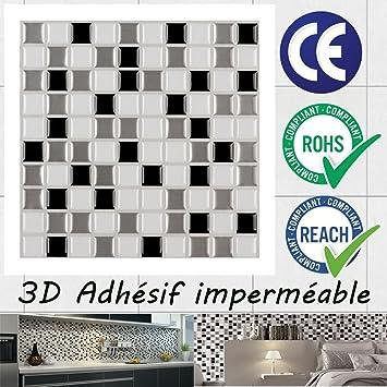 Ecoart 3D Autocollant Mural Imperméable Auto-adhésif en mosaïque ...