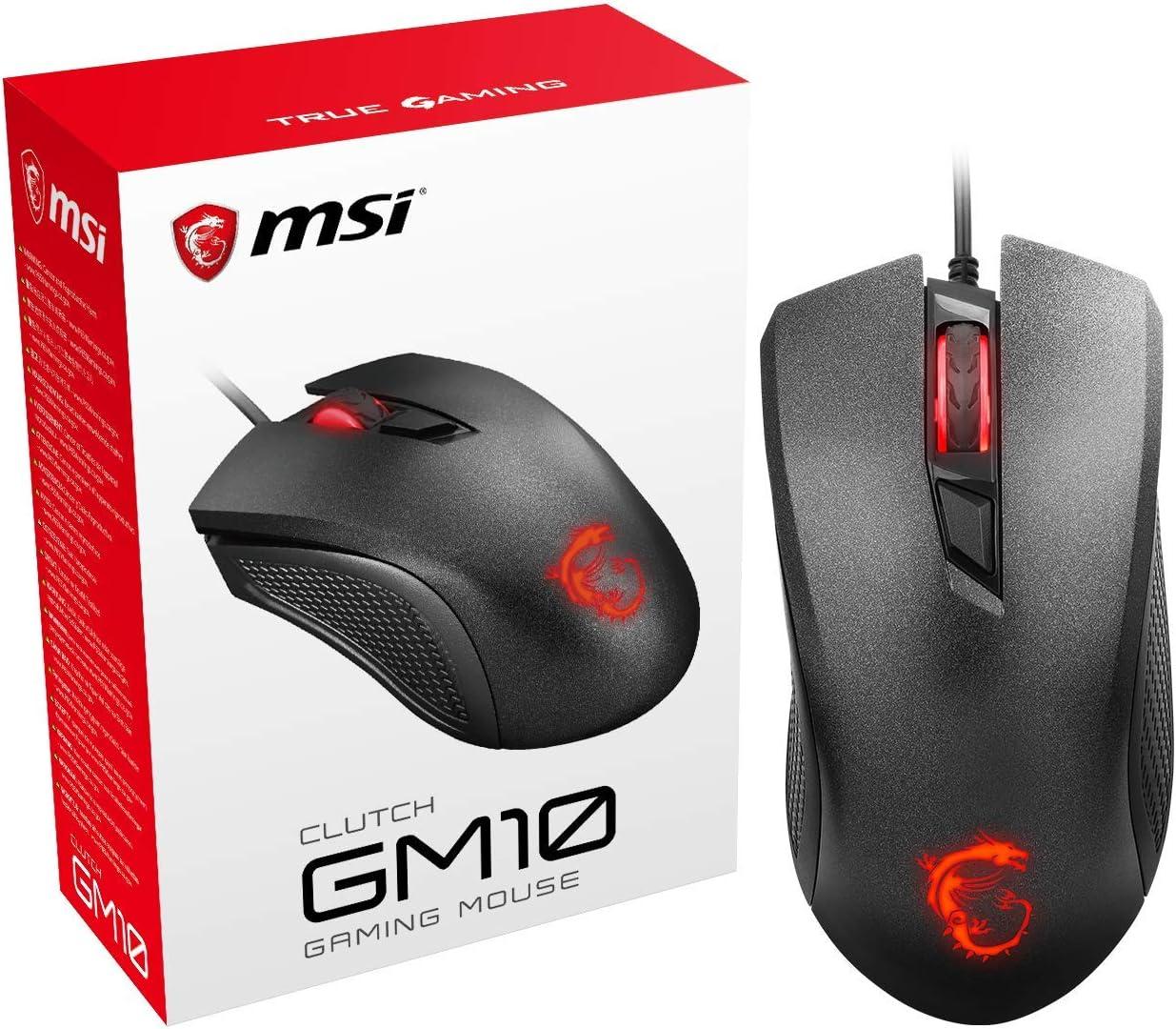MSI Clutch GM10 - Ratón de Gaming con 2400 dpi, Color Negro