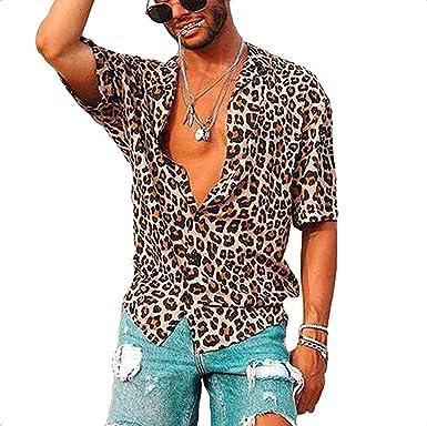Loalirando - Camisa de hombre de manga corta y ajustada, para hombre, estampado de leopardo (S-3XL) Leopardata 3XL: Amazon.es: Ropa y accesorios