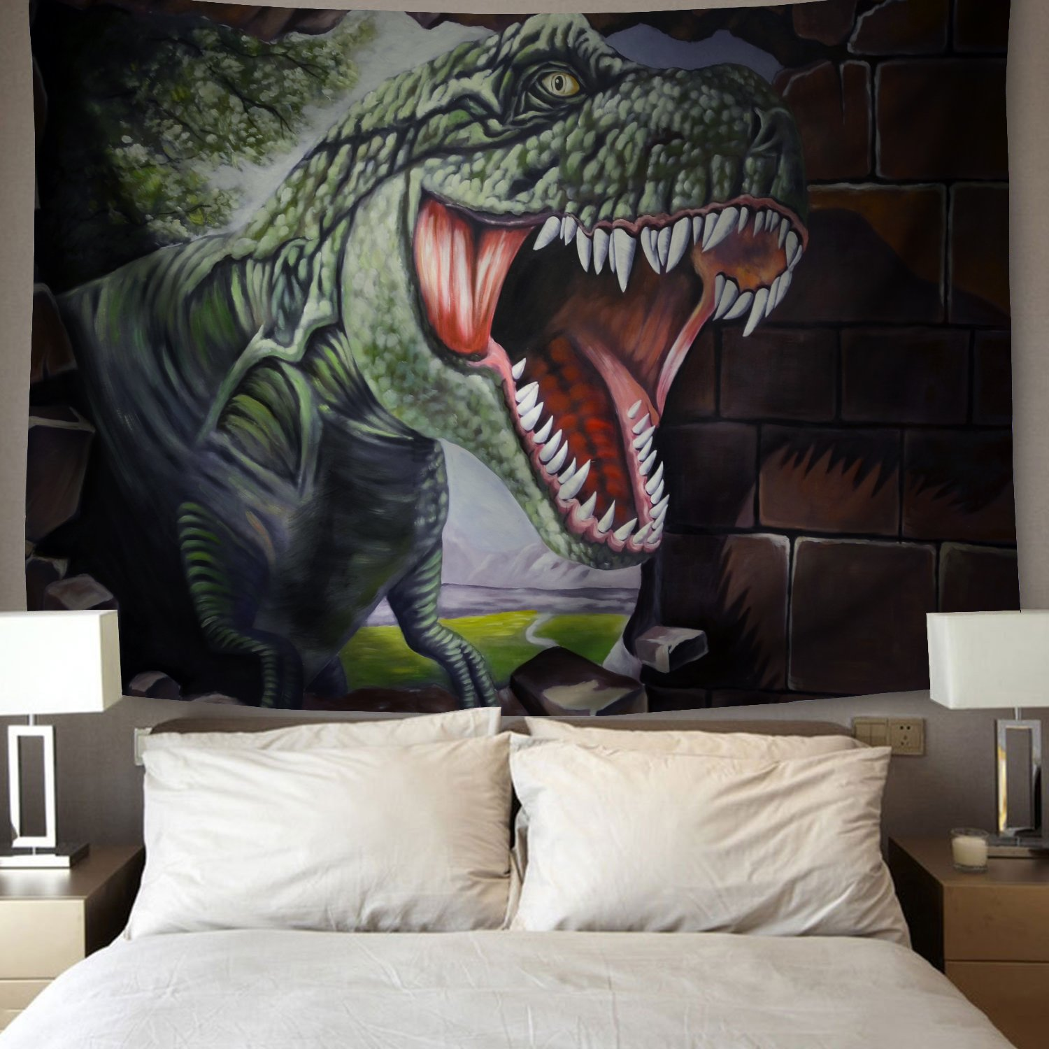 YSJ Tyrannosaurus Rex Tapestry Wall Hanging Decor Animal T-Rex Bedspread Picnic Bedsheet Blanket Home Wall Art Tapestry (230x180 cm / 90x70 inches)