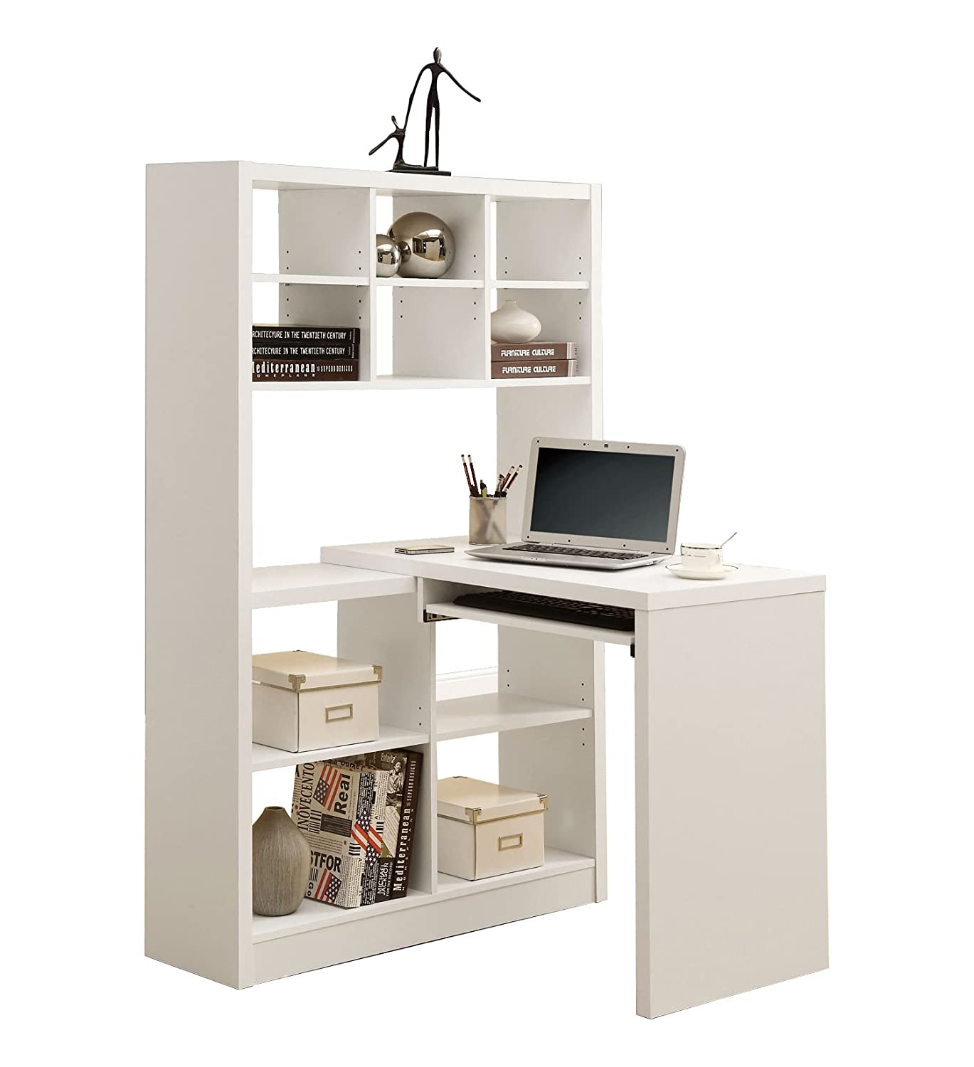 Monarch specialties white hollow core left right facing desk and shelf combo amazon co uk kitchen home