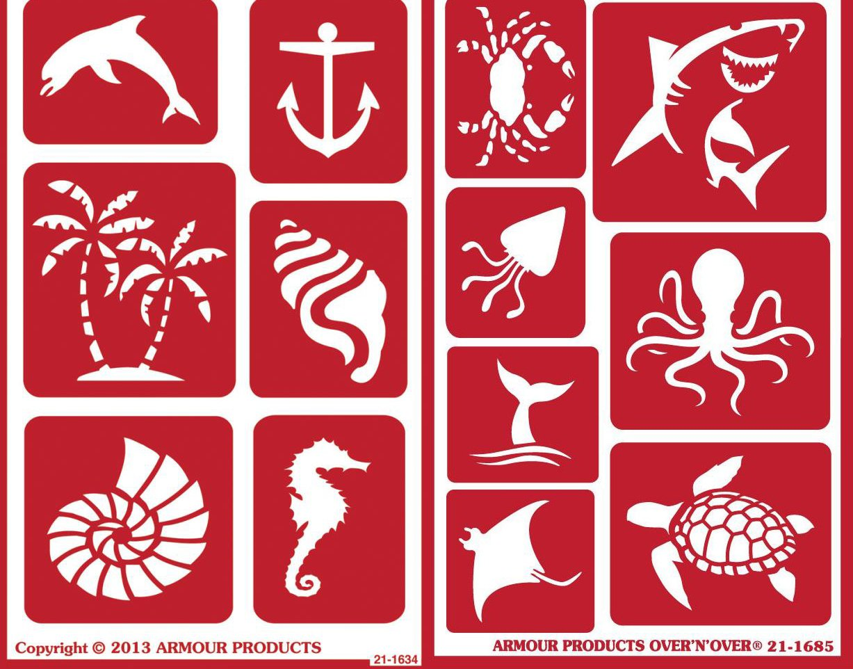 Over 'n' Over Reusable Self-Stick Etching Stencil for Glass (Or Stamping) - Bundle of Two Sets - Seashore & Sea Creatures