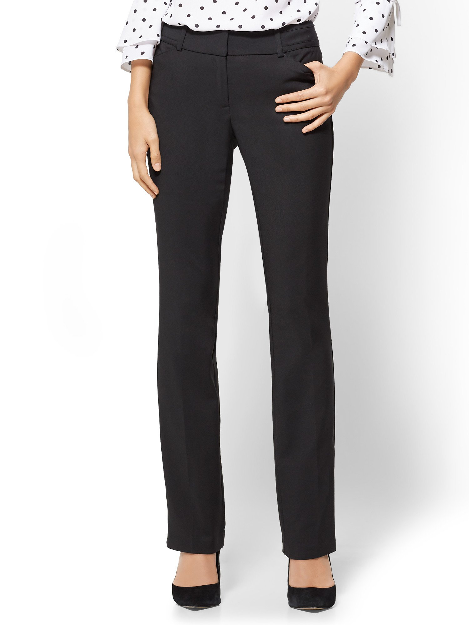New York & Co. 7Th Avenue Petite Pant - Straight Leg - 12 Black