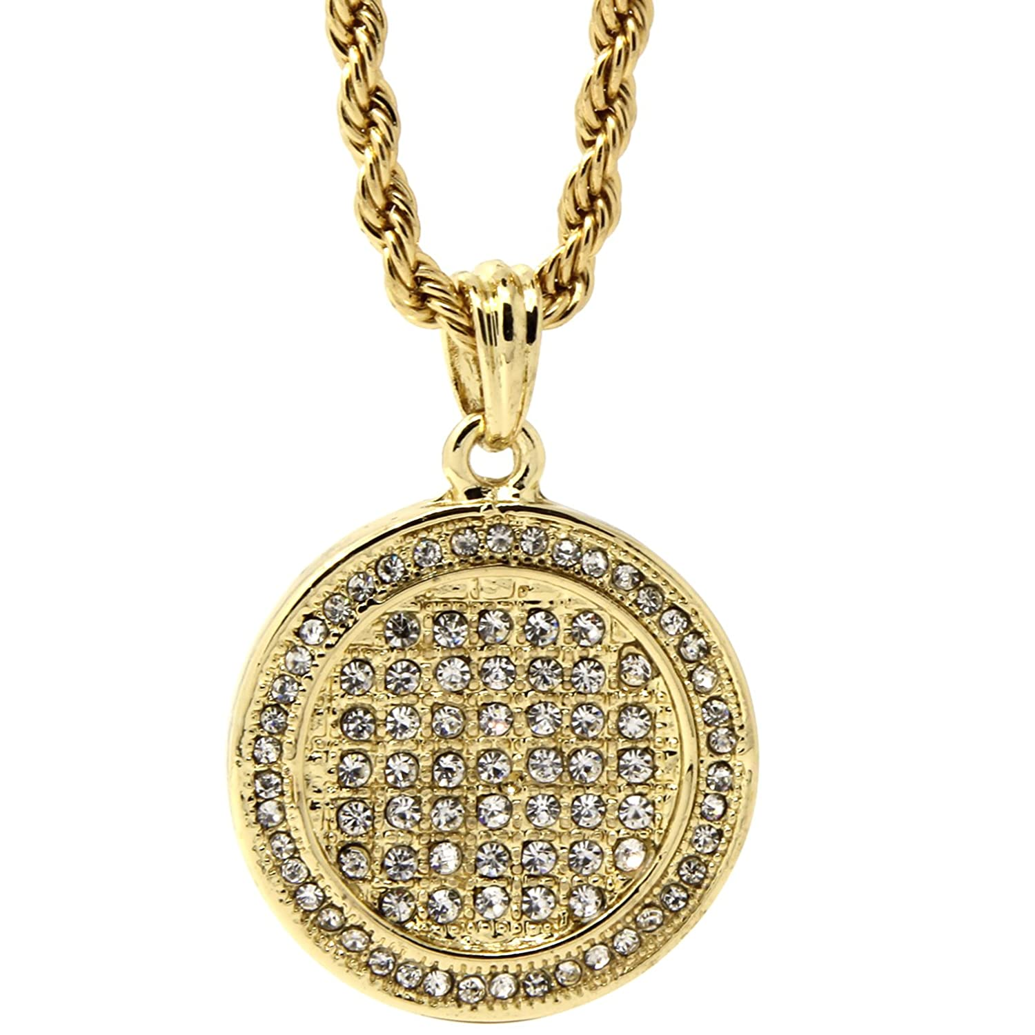73aa85b4ef46b Mens Hip Hop Gold Plated Iced Round Medallion Piece Pendant 24