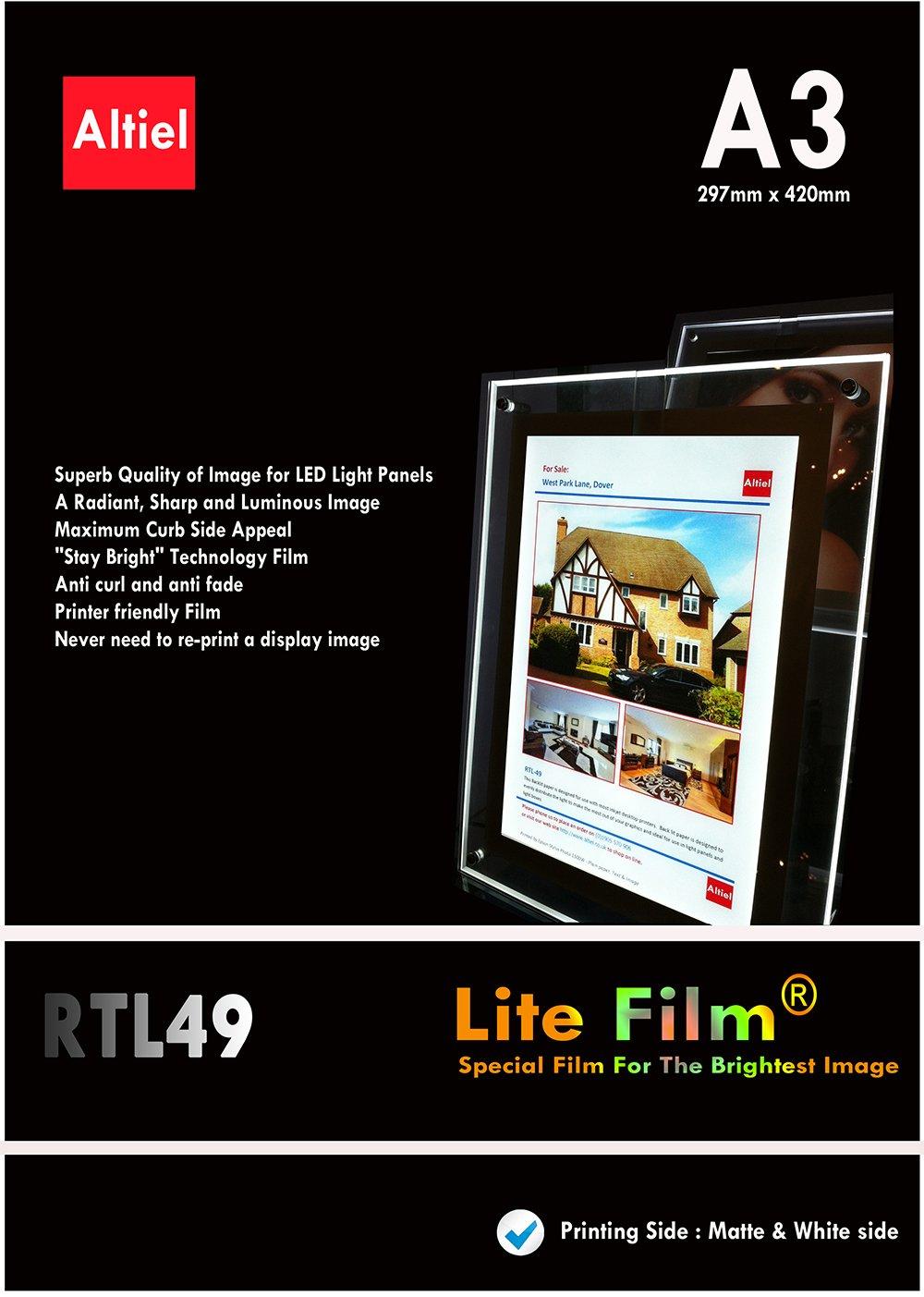 RTL49, formato A3, 100 fogli per ogni stampante a getto d'inchiostro, Laser e fotocopiatrici & , illuminazione posteriore per carta/Lite con luce LED e luce LED per pannello LED Lightbox-£132,00 IVA e consegna il giorno successivo è disponibile Altie