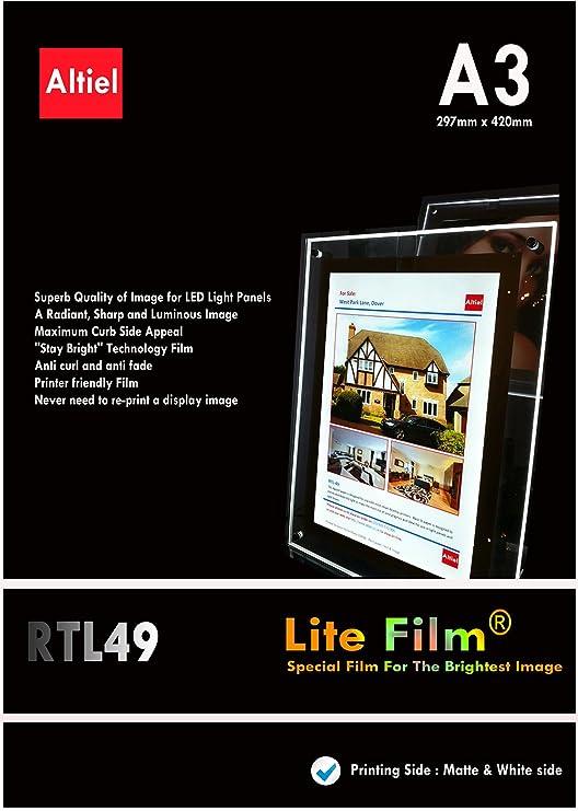 RTL49 - A3 x 100 hojas para impresoras láser y copiadoras - papel retroiluminada/Lite para luz LED/Luz LED Panel/bolsillo LED Lightbox - y entrega al ...