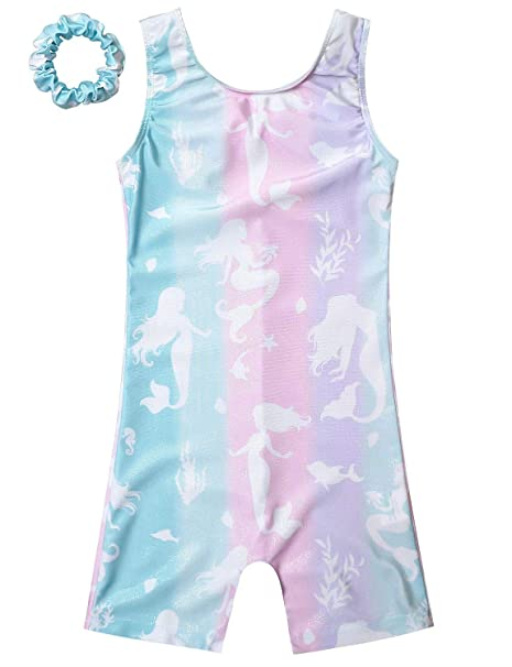 f50fc6c9 Girls Gymnastics Biketard Clothes Sparkle Mermaid Leotards for Toddler Kid  3t 4t