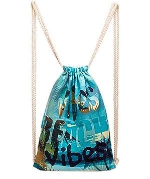 FEOYA Mochila de cuerdas Bolsa Tipo Saco Estampada de Deporte con Cordones para Mujer azul: Amazon.es: Equipaje