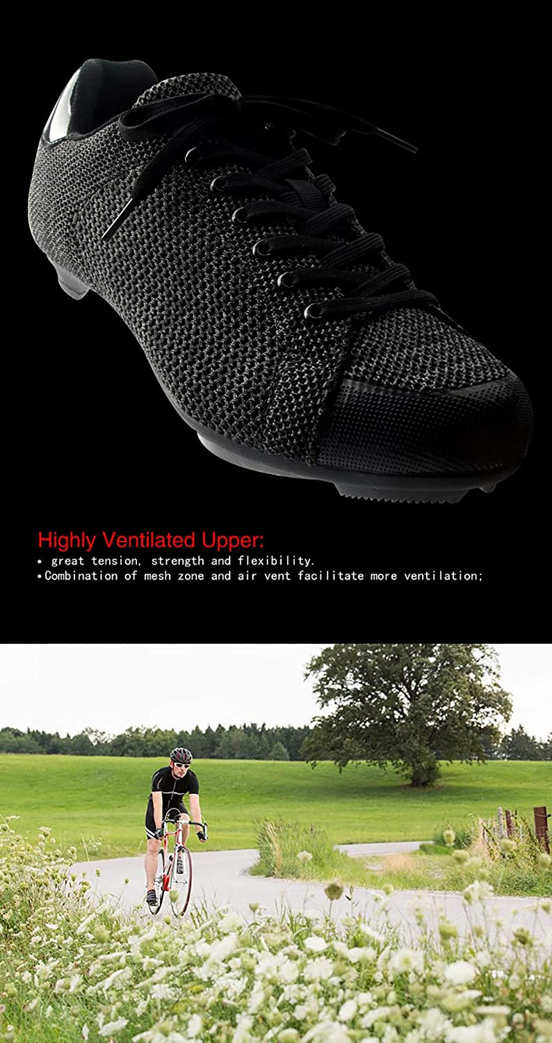 Tiebao Knit Sneaker Style Professional Road Bicycle Bike Cycling Ultralight Mesh Breathable Shoes SPD SL Look Spin Non-Slip Riding Shoes Lace-up