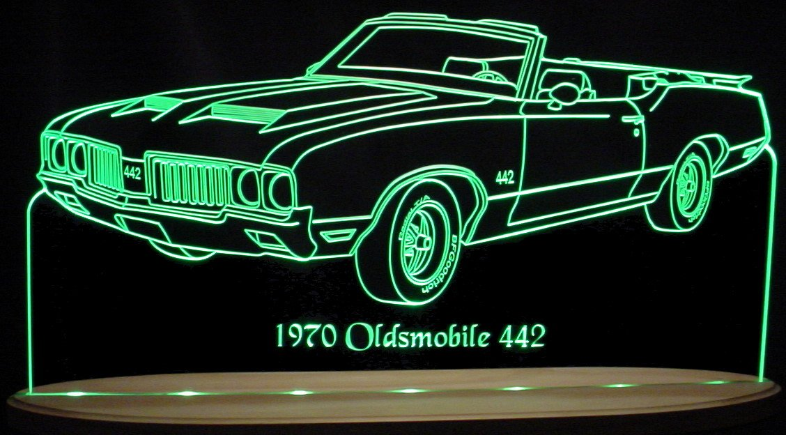 1970 Oldsmobile Olds 442 Convertible Acrylic Lighted Edge Lit LED Sign Awesome 21'' Light Up Plaque 68 VVD10 Full Size USA Original by ValleyDesignsND