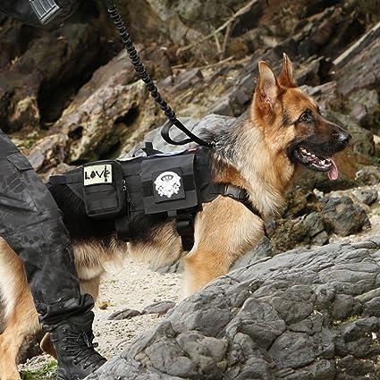 e671208d778 OneTigris Tactical Dog Molle Vest Harness Training Dog Vest with Detachable  Pouches (Black