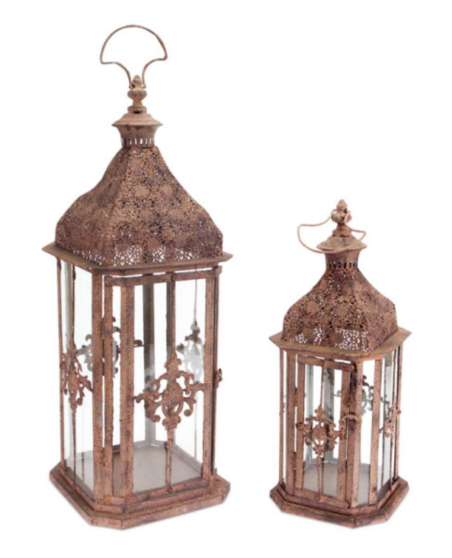 Brown Antique Rustic Candle Holder Lanterns - Set of 2