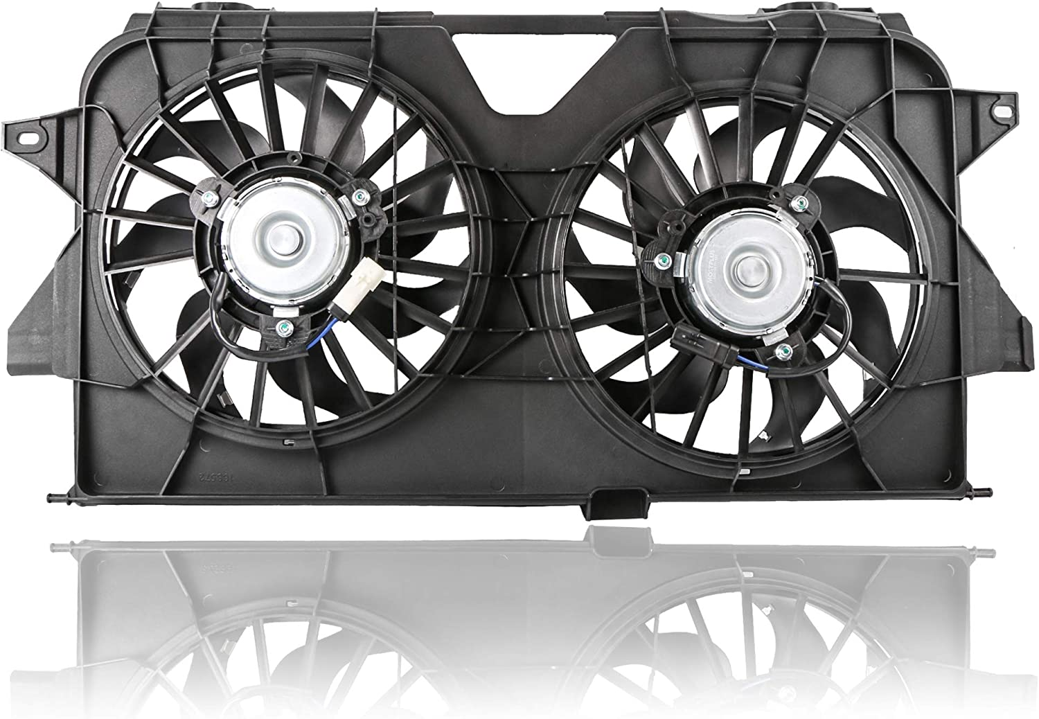 MOSTPLUS Black Dual Radiator Cooling Fan Assembly 4677695AB CH3115145 Compatible with 2005-2007 Chrysler Town & Country/Dodge Grand Caravan
