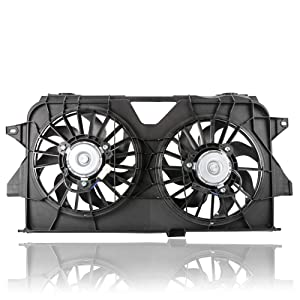 MOSTPLUS Black Dual Radiator Cooling Fan Assembly 4677695AB CH3115145 for 2005-2007 Chrysler Town & Country/Dodge Grand Caravan