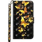手帳型 ケース 適切な iPhone XS/iPhone X,VVSURE おしゃれパターンシリーズ スタンド機能付き [カード収納] 財布型 磁気バックル ケース適切な アイフォンX/アイフォンXS (ゴールデンバタフライ)