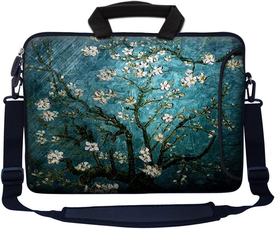 """Meffort Inc 15 15.6 inch Neoprene Laptop Bag Sleeve with Extra Side Pocket, Soft Carrying Handle & Removable Shoulder Strap for 14"""" to 15.6"""" Size Notebook Computer - Vincent van Gogh Almond Blossoming"""