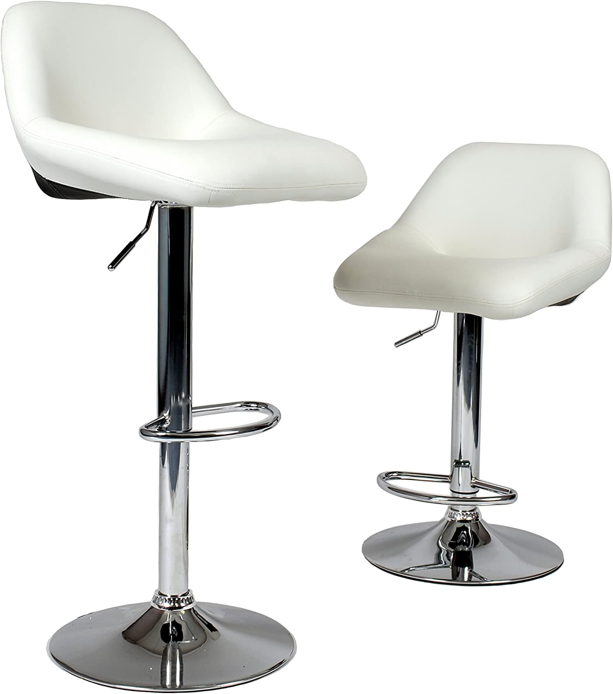 Roundhill Furniture Maxii Hydraulic Swivel Chrome Bar Stools (Set of 2), Black/White