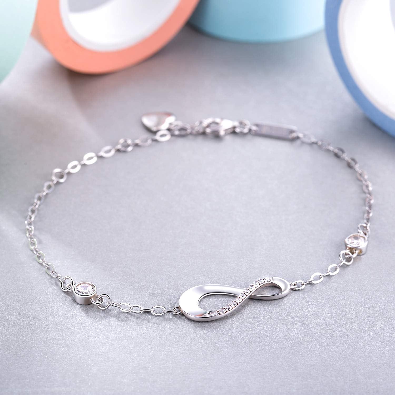 Billie Bijoux damour sans fin Symbole Bracelet r/églable avec charme pour Femme 925 Argent fin Bracelet infini