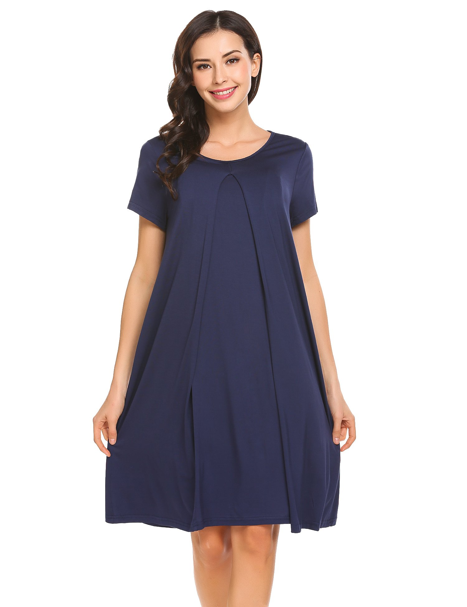 Ekouaer Womens Maternity Nursing Nightgown Round Neck Short Sleeve Sleep Dress (07 Navy Blue, XXL)