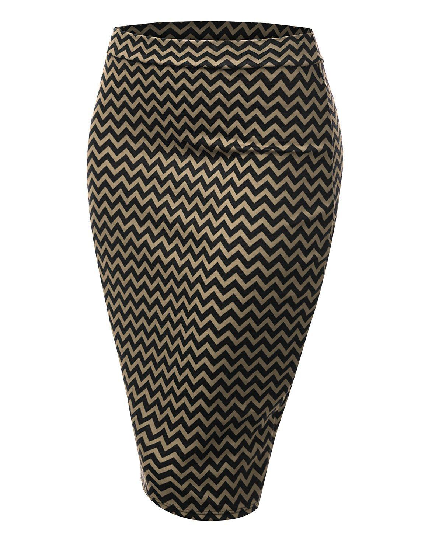 Women's Printed Basic Elastic Pencil Midi Skirt with Bag Out Hem