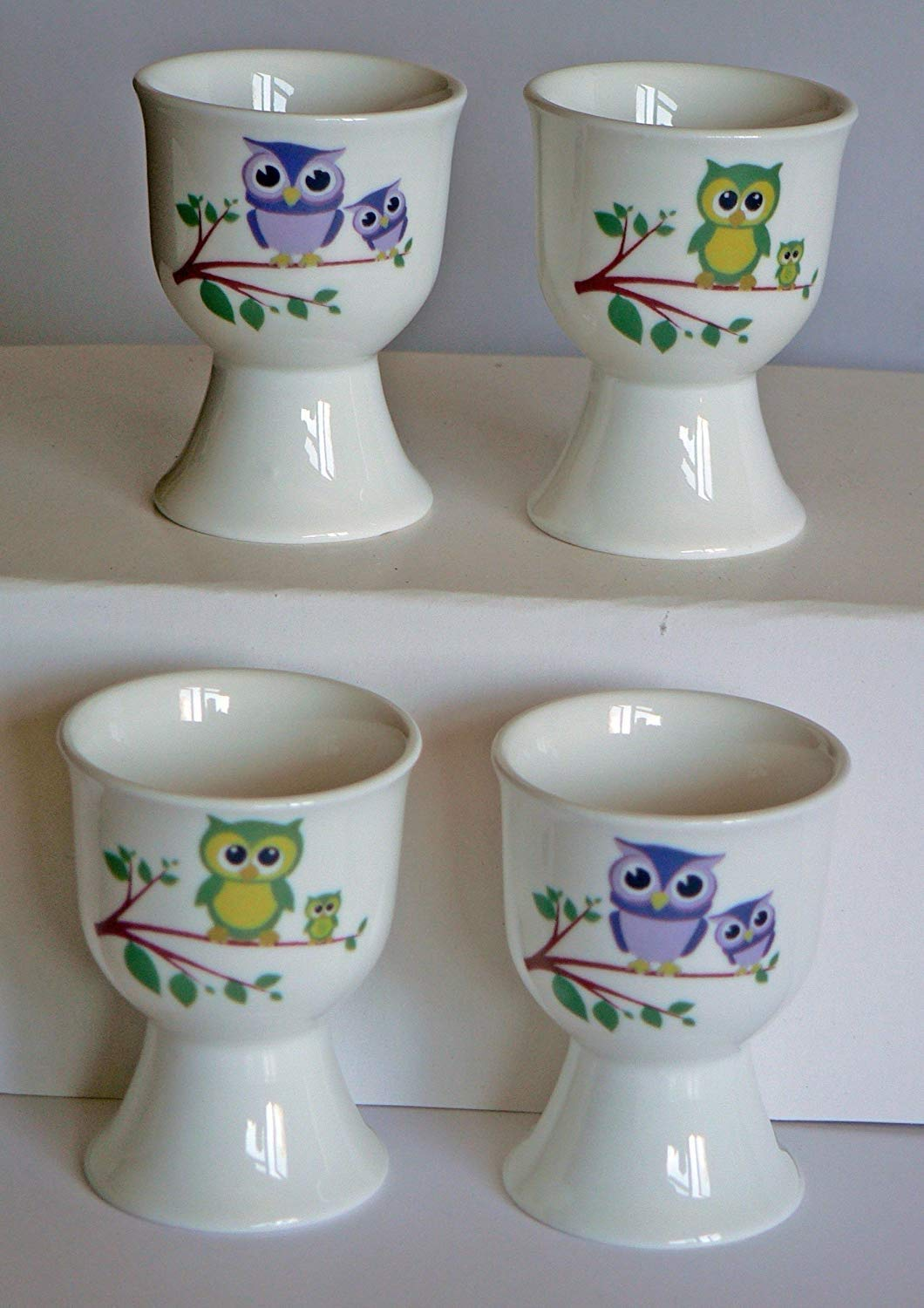 crackinchina Owl egg cups eggcup porcelain set of 4-2 pink & purple 2 green & yellow