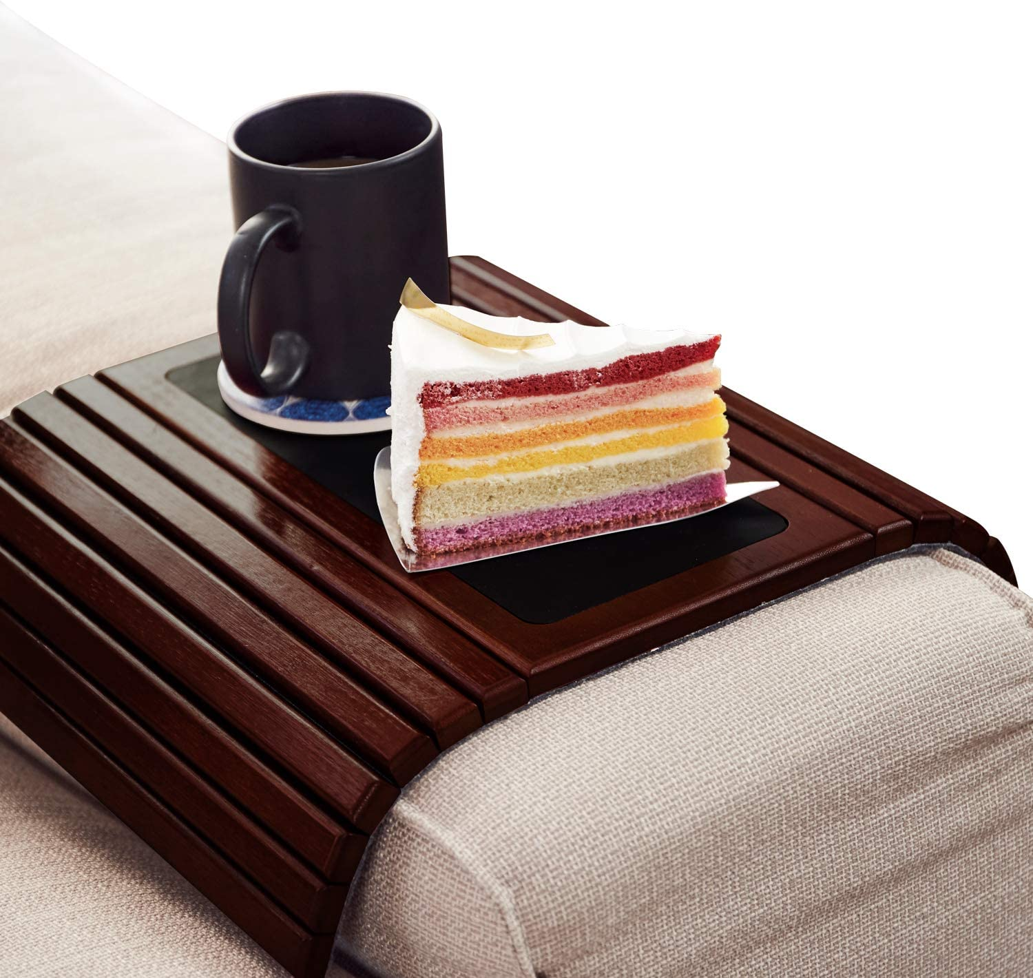 LENUE Bamboo Sofa Arm Tray - Small TV Side Table for Your Couch - Ideal Cup Holder, Drink Coaster and Remote Caddy - Perfect for Birthday, Housewarming & Wedding Gifts