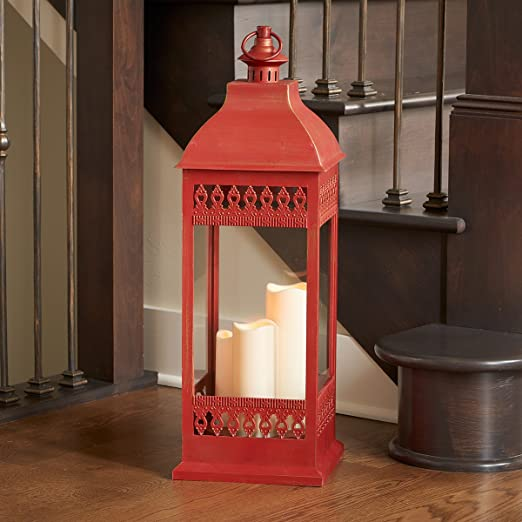 Christmas Tablescape Décor - Antique matte red triple led candle mission lantern