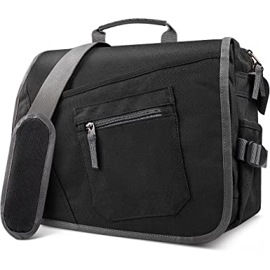 17b2c1b0c6c7 Qipi Messenger Bag - Pocket Rich Satchel Shoulder Bag for Men & Women -  with 15.6 inch Laptop Compartment