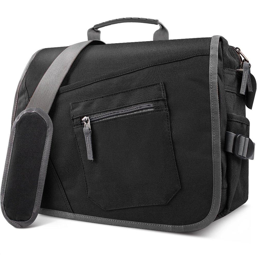 Qipi Messenger Bag - Shoulder Bag for Men & Women, 15'' Laptop Pocket (Black)