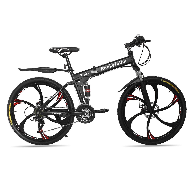 Max4out Mountain Bike Folding Bikes 6 Spoke 21 Speed 700CC Shining SYS Double Disc Brake Suspension Fork Rear Suspension Anti-Slip