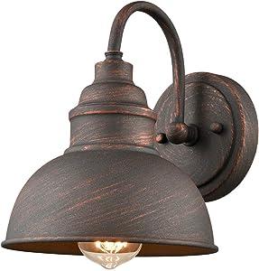 EUL Rustic Gooseneck Wall Sconce 1-Light Waterproof Outdoor/Indoor Barn Bedside Wall Light Antique Copper Finish